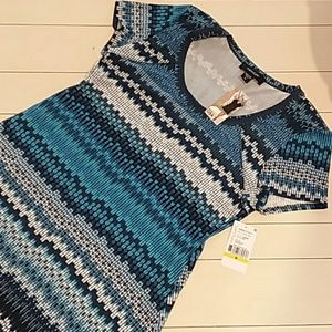 Karen Kane nwt Blue Print short t-shirt dress medi
